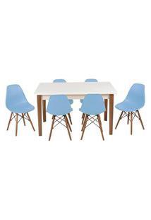 Conjunto Mesa De Jantar Luiza 135Cm Branca Com 6 Cadeiras Eames Eiffel - Azul Claro