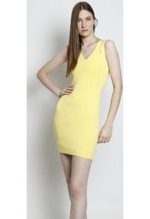 Vestido Com Recortes Vazados - Amarelo- Moiselemoisele