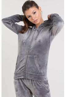 Blusão Feminino Esportivo Ace Em Plush Com Capuz Cinza