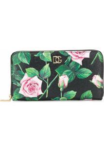 Dolce & Gabbana Carteira Com Estampa De Rosas - Preto