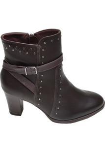 Bota Feminina Ankle Boot Comfortflex Café