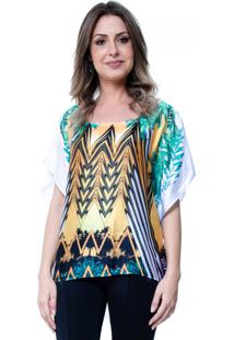 Blusa 101 Resort Wear Poncho Crepe Cetim Estampado Etnico Laranja