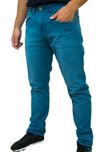 Calça Kevingston Roy Sarja Azul Slim Fit De Algodao