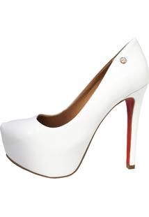 Scarpin Noiva Salto Alto Fino Meia Pata Interna Le Bianco Glamour Branco