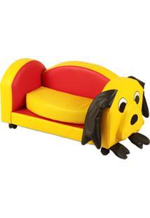 Puff Infantil Stay Puff Dog Nobre Amarelo E Vermelho