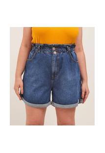 Short Mom Jeans Com Elástico Curve & Plus Size | Ashua Curve E Plus Size | Azul | 52