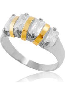 Anel Prata Mil Prata C/ Filete De Ouro E Zircônia - Kanui