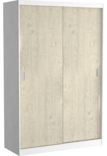 Guarda-Roupa Solteiro 2 Portas De Correr 100% Mdf 813 Branco/Marfim Areia - Foscarini