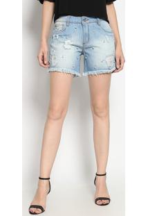 Bermuda Jeans Com Destroyed - Azul Claroenna