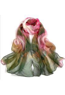 Lenço Estampado Artestore Aquarelado Grande, Echarpe. Xale, Tons De Rosa E Verde