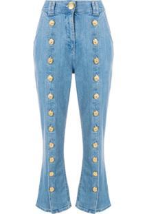 8b66ebc9c Ir para a loja  Balmain Calça Jeans Cropped Com Botões - Azul