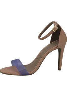 Sandália Salto Alto Vendrata Clássico Vinil Azul E Nobuck Rosa - Tricae