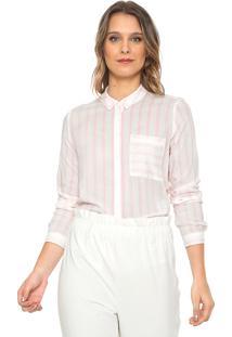 Camisa Only Listrada Rosa/Branca