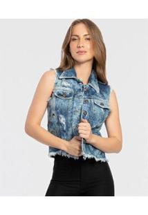 Colete Jeans Biotipo Destroyed Ilhós Biotipo Feminino - Feminino-Azul