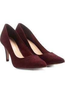 Scarpin Couro Shoestock Salto Alto Básico - Feminino-Bordô