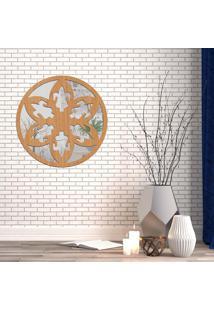 Escultura De Parede Wevans Mandala Beautiful, Madeira + Espelho Decorativo
