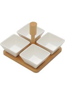 Conjunto 5 Peças 4 Petisqueira E 1 Suporte - Bon Gourmet - Branco