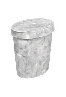Lixeira Oval Glass 26,2 X 18,4 X 24,6 Cm 5 L Mármore Branco Coza