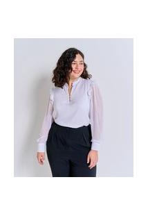 Blusa Em Chiffon Com Transparência E Babados Curve & Plus Size