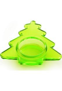 Porta Velas Em Vidro Verde Arvore Liso - 3 Unidades 2 X 28 Cm - Verde - Dafiti
