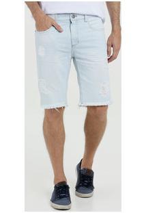 Bermuda Masculina Slim Jeans Destroyed Mr