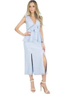 Vestido Liage Midi Renda Liso Peplum Fenda Laço Decote V Azul Claro / Azul Bebe