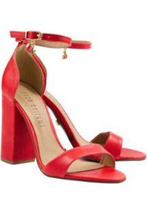 Sandália Salto Quadrado Lança Perfume Feminina - Feminino-Vermelho