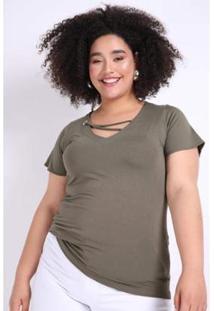 Blusa Kaue Plus Size Ilhós No Decote Feminina - Feminino-Verde