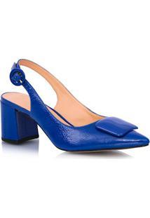 Scarpin Aberto Bico Fino Em Verniz Azul