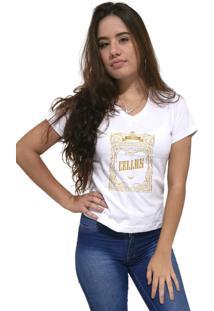 Camiseta Feminina Gola V Cellos Retro Frame Premium Branco - Kanui