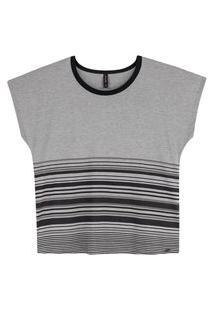 Blusa Plus Size Feminina Viscose Listrada Maelle