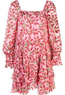 Alice+Olivia Vestido Decote Quadrado Com Estampa Floral - Rosa