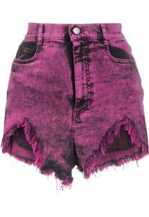 Redvalentino Short Jeans Com Efeito Lavagem - Rosa