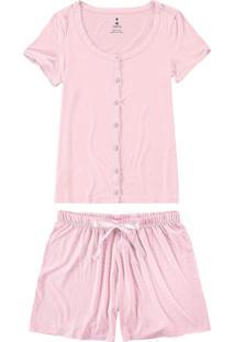 Pijama Rosa Listrado Em Viscose