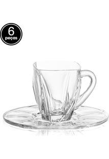Conjunto De Xícaras 6Pçs Bohemia Chá Cristal Neptun Incolor