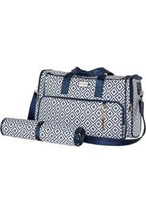 Bolsa Geometric - Azul Escuro & Branca- 33X48X7Cm