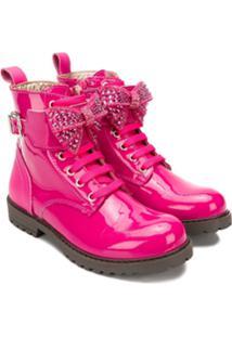 Monnalisa Ankle Boot De Couro - Rosa