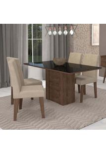 Conjunto De Mesa De Jantar Retangular Rafaela Com 4 Cadeiras Milena Suede Bege E Preto
