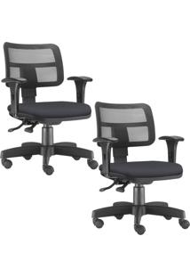 Kit 02 Cadeiras Giratórias Lyam Decor Zip Suede Preto