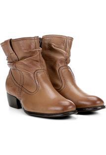 Bota Slouch Shoestock Couro Cano Curto Feminina - Feminino-Marrom Claro