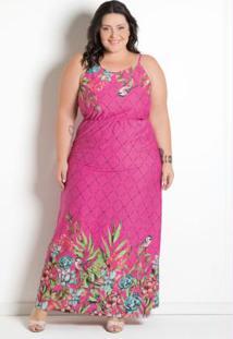 Vestido Longo Estampa Barrada Plus Size Floral