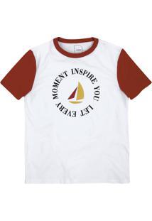 T-Shirt Com Manga Raglan E Estampa
