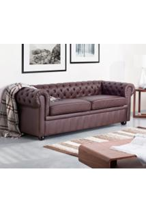 Sofá Chesterfield Couro Ln 410