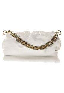Bolsa Feminina Pequena Com Corrente Grossa Dourada Off White