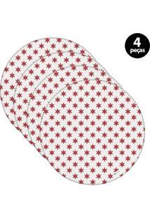 Capa Para Sousplat Mdecore Natal Estrela Branco 4Pçs