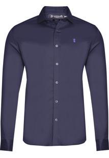 Camisa Masculina Elastano Com Gorgurão - Azul Marinho