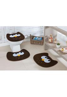Tapete Jogo Banheiro Formato Coruja Café Guga Tapetes