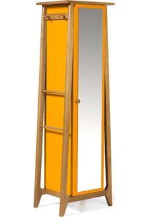 Armário Multiuso Stoka 1 Porta Com Espelho Nogal/Amarelo Maxima