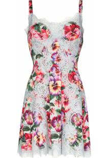 Dolce & Gabbana Vestido Floral Com Acabamento De Renda - Azul