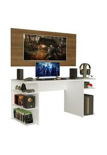 Mesa Gamer Madesa 9409 E Painel Para Tv Até 50 Polegadas Branco/Rustic Branco